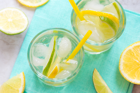 alcoholic drink: alcoholic drink (gin and tonic) with lemon, lime and ice Stock Photo