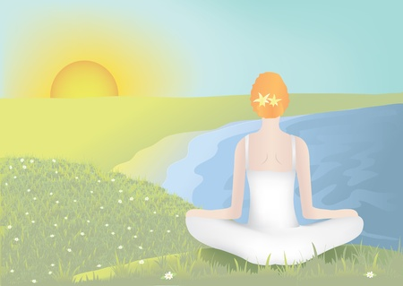 Young woman meditating in lotus position Stock Vector - 11349756