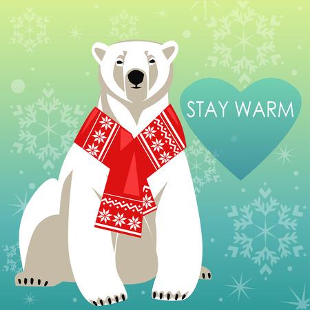 polar bear: Greeting Card with Polar bear in red woolly scarf