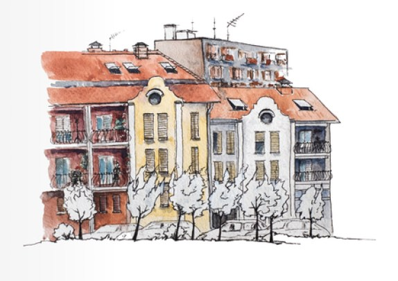 European urban landscape. European town with old and modern houses. Urban view. Watercolor illustration. Sketch Stock Illustration - 81213596