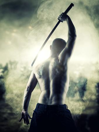 STORMY NINJA: Warrior with his Katana sword