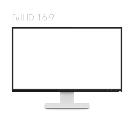 Monitor Mockup On White Modern Realistic Computer Display With