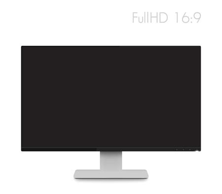 Monitor Mockup Modern Realistic Computer Display With Wide Screen