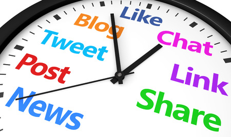 media: Social media time management and web strategy concept with a clock and social network word and sign printed in multiple colors 3d render image.