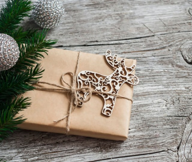 Homemade Christmas Gift In Kraft Paper Wooden Christmas Deer Ornament Christmas Tree Branches On