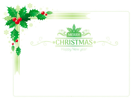 Merry Christmas And Happy New Year Corner Horizontal Border Banner      89413716   Merry Christmas and Happy new Year corner border frame with  holly berry leafs  Text lettering logo  Isolated on white background