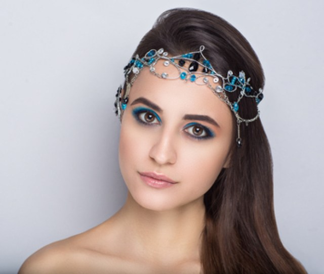 Closeup Portrait Of Beautiful Girl Woman Lady Combed Hair Styling Luxury Professional Makeup Bright