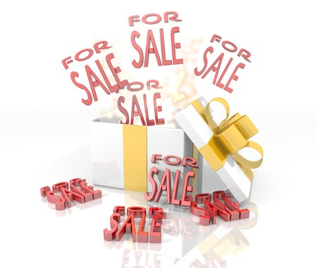 isolated 3d rendered gift on white background with glittering sale symbol coming out of it Stock Photo - 23670582