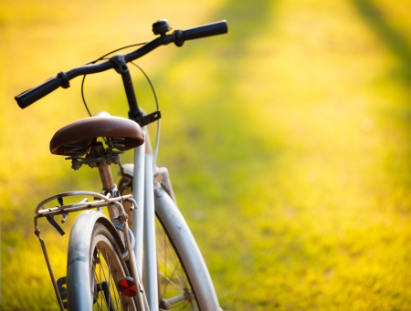 An old bicycle in meadow during sunset with shallow dept of field Stock Photo - 15974541