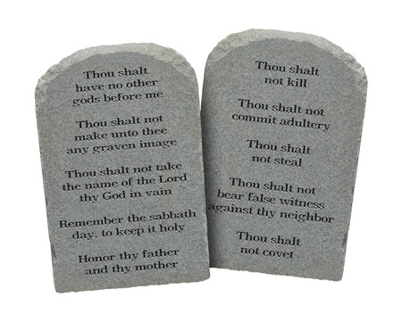ten commandments: Moses Ten Commandments Stones Isolated on White Background.