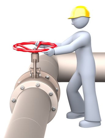 Man turning on and off the red pipeline valve Stock Photo - 20325207