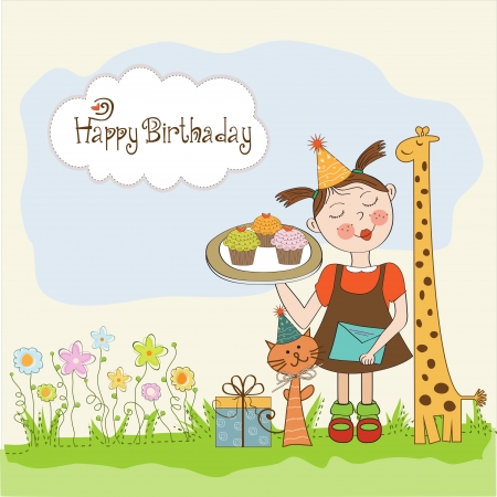 Happy Birthday card with funny girl, animals and cupcakes, illustration Stock Vector - 18283393
