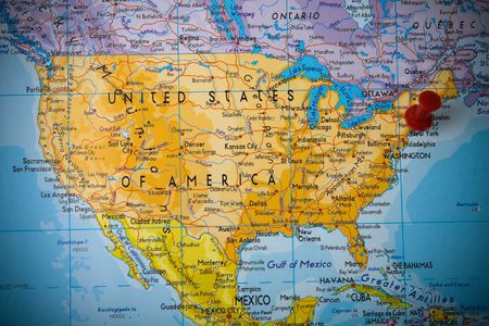 Small Pin Pointing On New York In Map Of United States Of America     Small Pin Pointing On New York In Map Of United States Of America Stock  Photo  Picture And Royalty Free Image  Image 3672759
