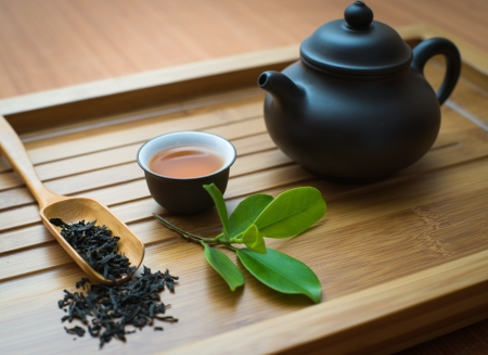 tealeaves,teacup and teapot on the bamboo mat Stock Photo - 19936840