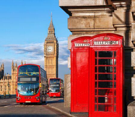 Londres Autobus Simbolos De Londres Con El Big Ben Autobus De Dos Pisos Y