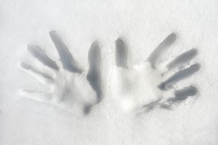 two hands two handed: Print of both palms hands on snow surface Outdoors Closeup