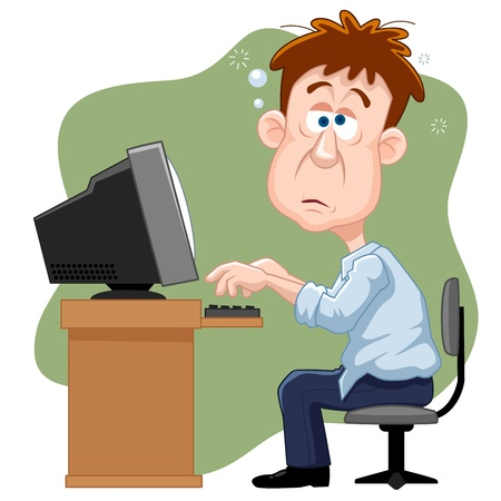 homme fatigue: illustration de l'homme d'affaires travaillant dur