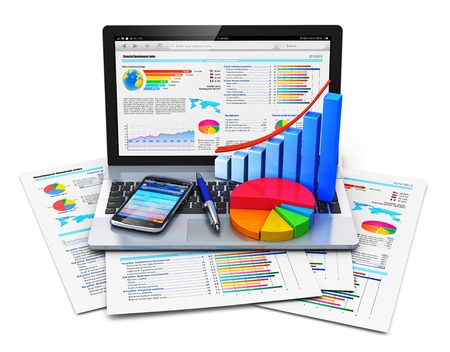 computer reports: Mobile office work, stock exchange market trading, statistics accounting, development and banking business concept Stock Photo