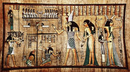 hieroglyphics: Ancient egyptian papyrus with pharaoh