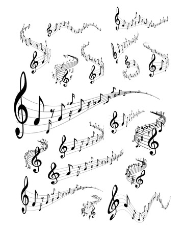 music: Wavy music staves. Vector set on white background Illustration
