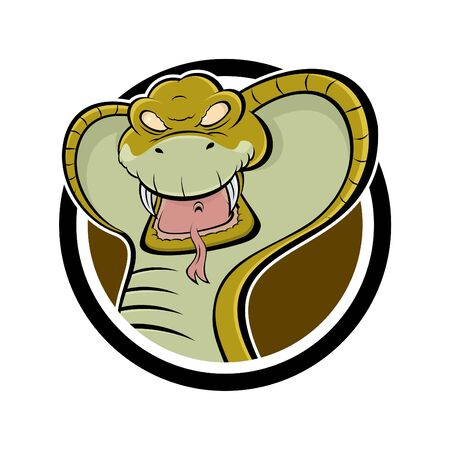 snake bites: angry cartoon cobra in a badge