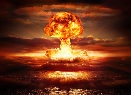 nuclear bomb: explosion nuclear bomb in ocean Stock Photo