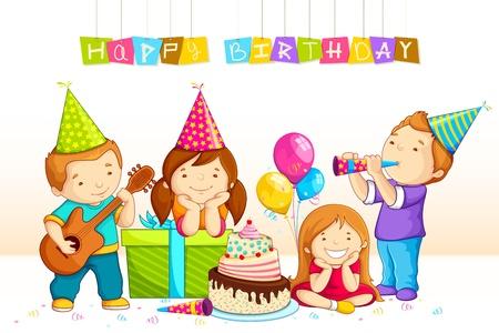 Kids Celebrating Birthday Stock Vector - 18029375
