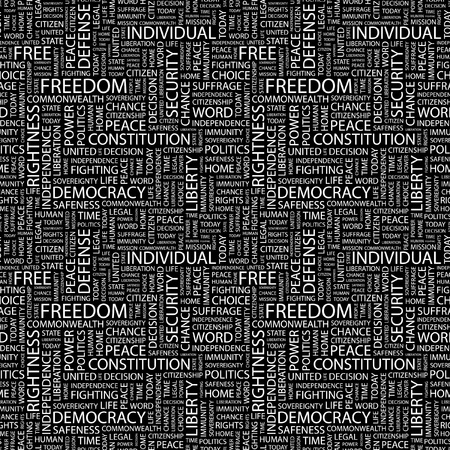 freedom life style: FREEDOM. Seamless vector pattern with word cloud. Illustration with different association terms.
