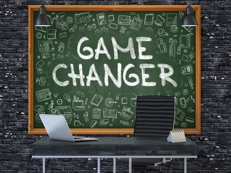 game changer: Green Chalkboard on the Dark Brick Wall in the Interior of a Modern Office with Hand Drawn Game Changer. Business Concept with Doodle Style Elements. 3D. Stock Photo