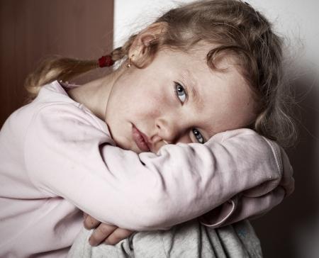 poor children: Sad littl girl. Childs problems