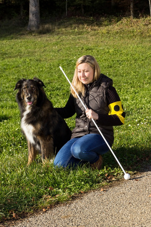 A guide dog sitting next to a blind woman on a meadow Stock Photo - 35704240