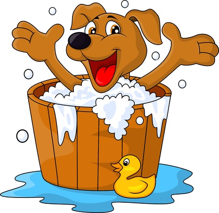 Dog bathing time Stock Vector - 17473772