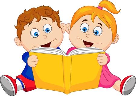 Children reading a book Stock Vector - 18821722