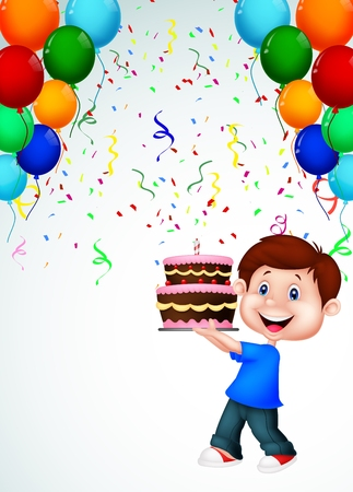 Boy with birthday cake Stock Vector - 30337577