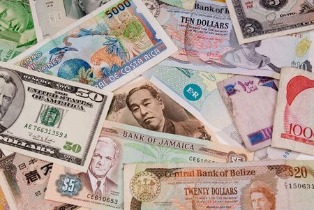 assorted international paper money close up Stock Photo - 2125896