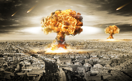 war: nuclear war illustration with multiple explosions Stock Photo