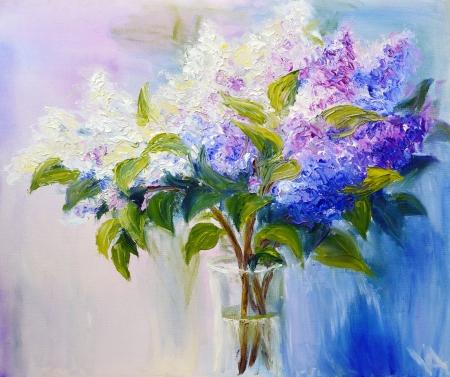 Flieder in einem Vase, Öl auf Leinwand Lizenzfreie Bilder - 21990164