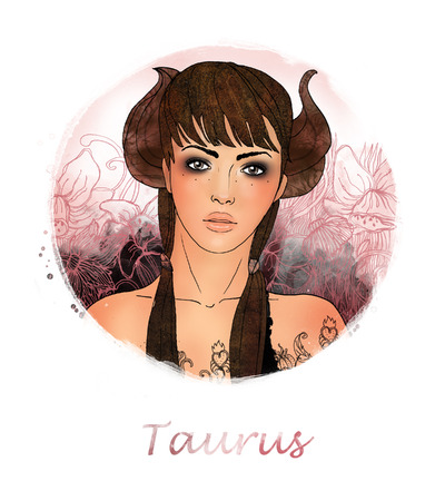Illustration of taurus zodiac sign as a beautiful girl  Stock Illustration - 24531179