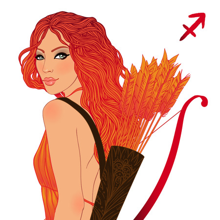 Pretty girl as a zodiac sign Sagittarius. Vector illustration. Stock Vector - 24625210