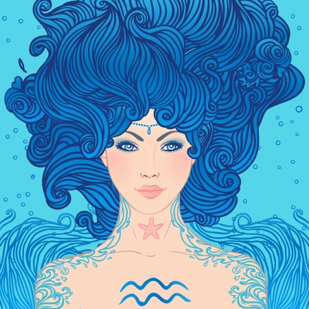 Illustration of aquarius astrological sign as a beautiful girl Stock Vector - 24674865