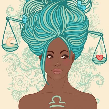 Zodiac beautiful girls set (African American version). Libra.  Stock Vector - 24674890