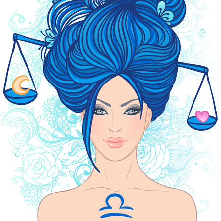 Illustration of libra zodiac sign as a beautiful girl. Vector illustration.. Isolated on white. . Isolated on white. Stock Vector - 24674891