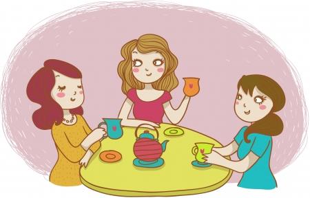 three women drinking tea Stock Vector - 11838450