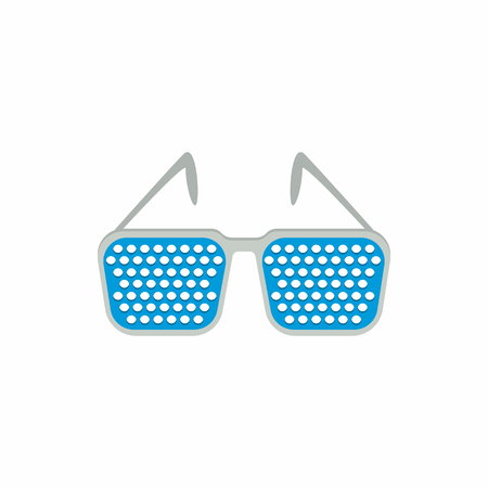 pinhole reading glasses: Pinhole glasses icon in cartoon style on a white background Illustration