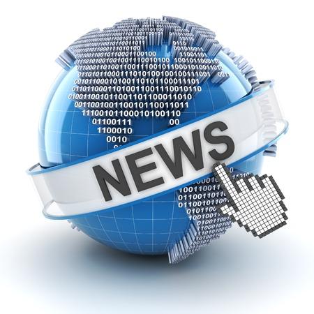 world news symbols icons: Technology news symbol with digital globe, 3d render, white background