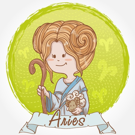 Illustration of Aries zodiac sign in cute cartoon style as a girl holding a sheep and dressed like shepherd Stock Vector - 13035298