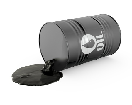 crude oil: Oil is spilling from the barrel, isolated on white background