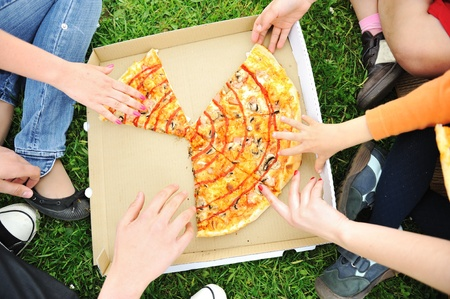 Pizza family picnic, eating outdoor together Stock Photo - 9186498