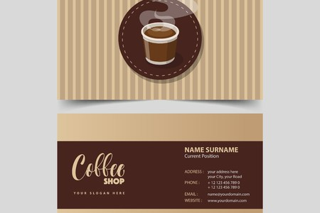 Coffee Shop Business Card Design Template  Royalty Free Cliparts     Coffee shop business card design template  Stock Vector   82742313