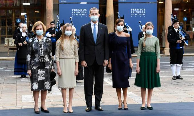 Queen Sofia joined her family at the 2020 Princesa de Asturias Awards ceremony on Oct. 16